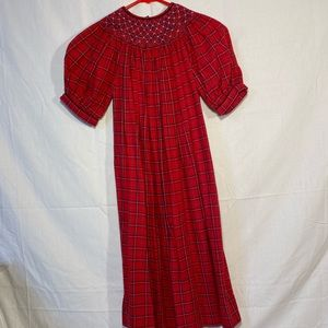 Pervenche Red Plaid Smocked Girls Size 7 Dress EUC
